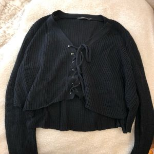 LF Boutique Black Tie Up Sweater Cropped